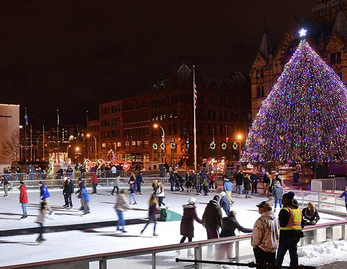 Skating in Clinton Square