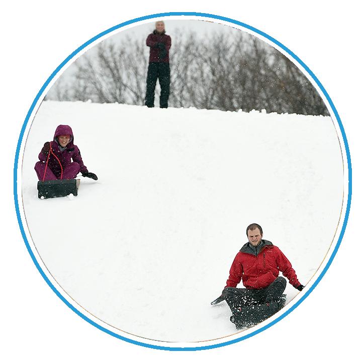 Kids tubing in snowy Syracuse