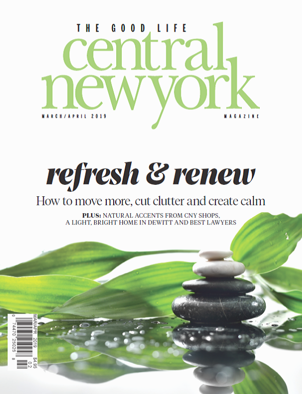 Central New York Magazine cover January February 2019 calm scene of stones, leaves and water