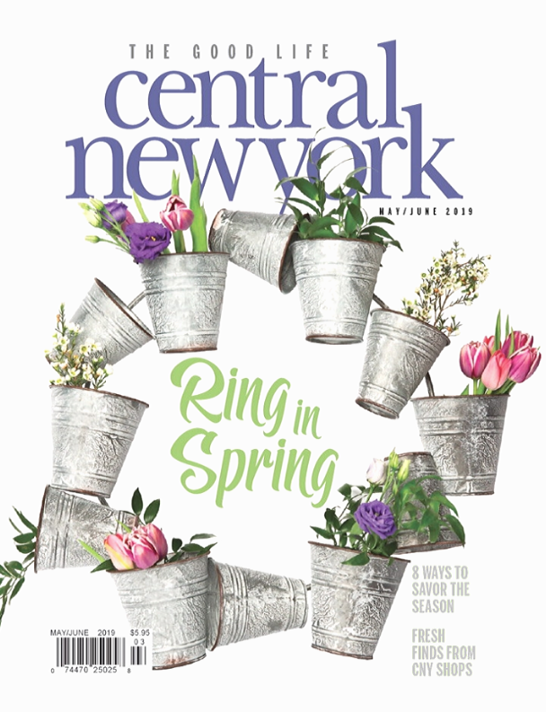 Central New York Magazine May June Cover with flowers in a metal pot wreath