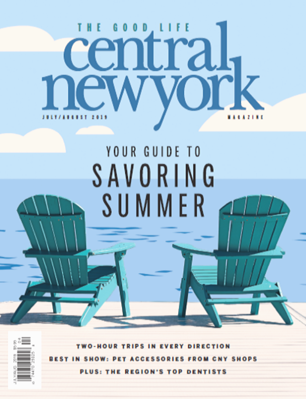 Central New York Magazine July August 2019 cover with adirondack chairs on a dock in front of water