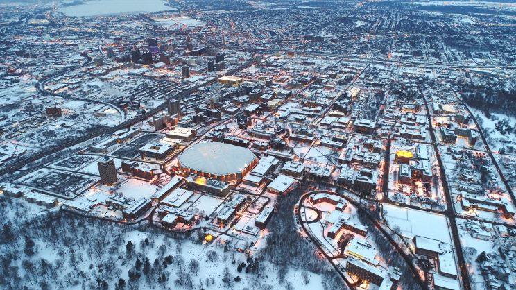 Birdseye view of Syracuse NY in winter