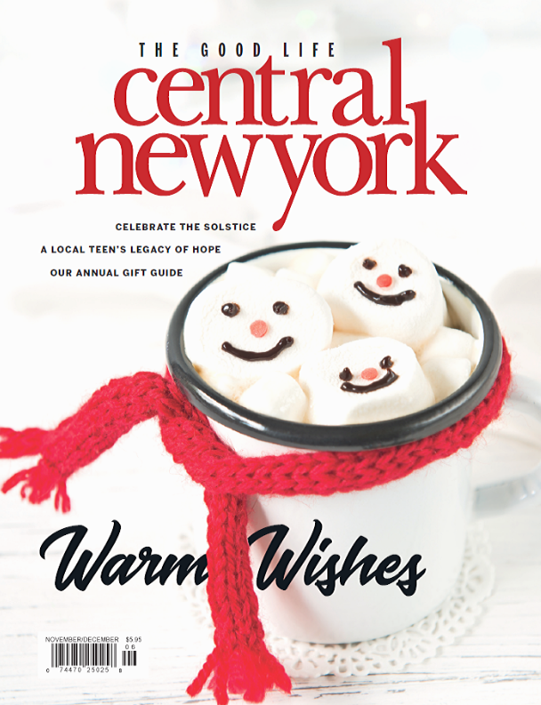 CNY Magazine holiday cover hot cocoa mug with marshmallows with snowman faces