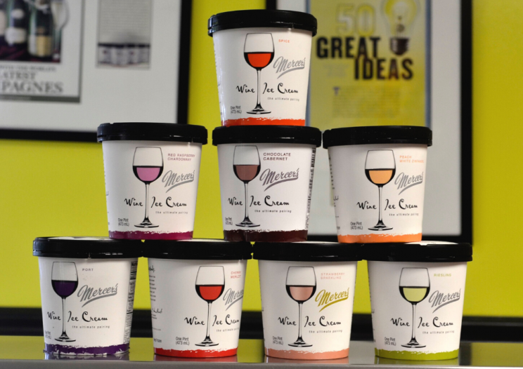 pints of wine infused ice cream a CNY food