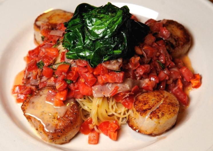 a scallop dish at Rosalie's Cucina