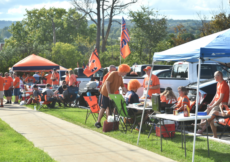Syracuse Orange fans tailgating outside the Dome