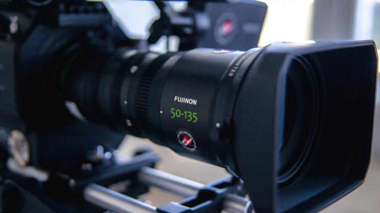 close up of movie camera