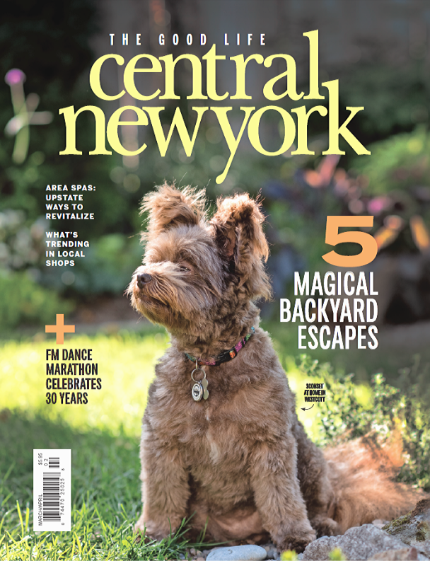 central new york magazine cover dog in garden