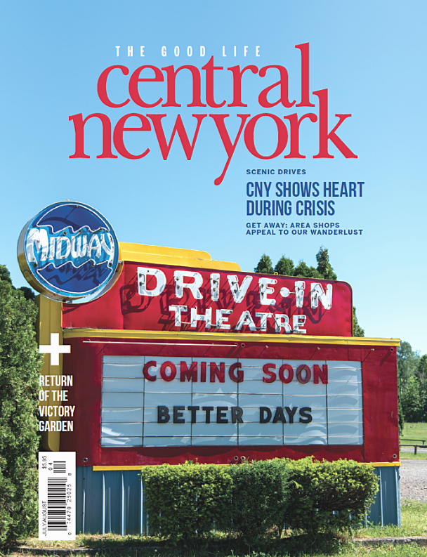 July August 2020 cover with drive in-theater sign that says coming soon better days