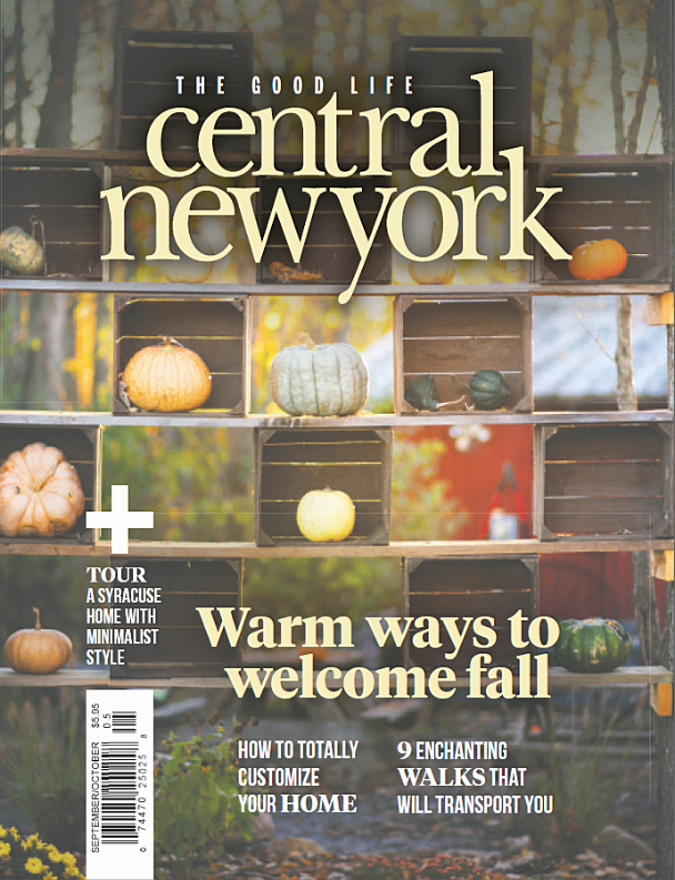 Magazine cover showing stacked crates, large pumpkins and gourds