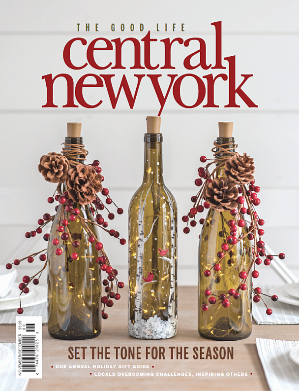 magazine cover with decorative wine bottles for holiday season
