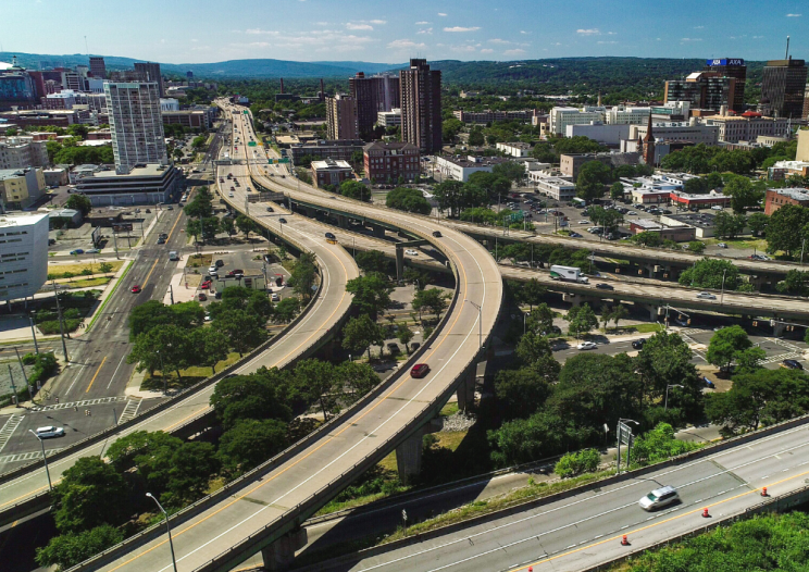 Downtown Syracuse and route 81 from above