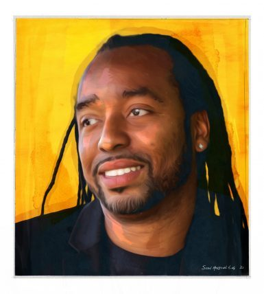 Black man in his 30s with braids and a dark t-shirt