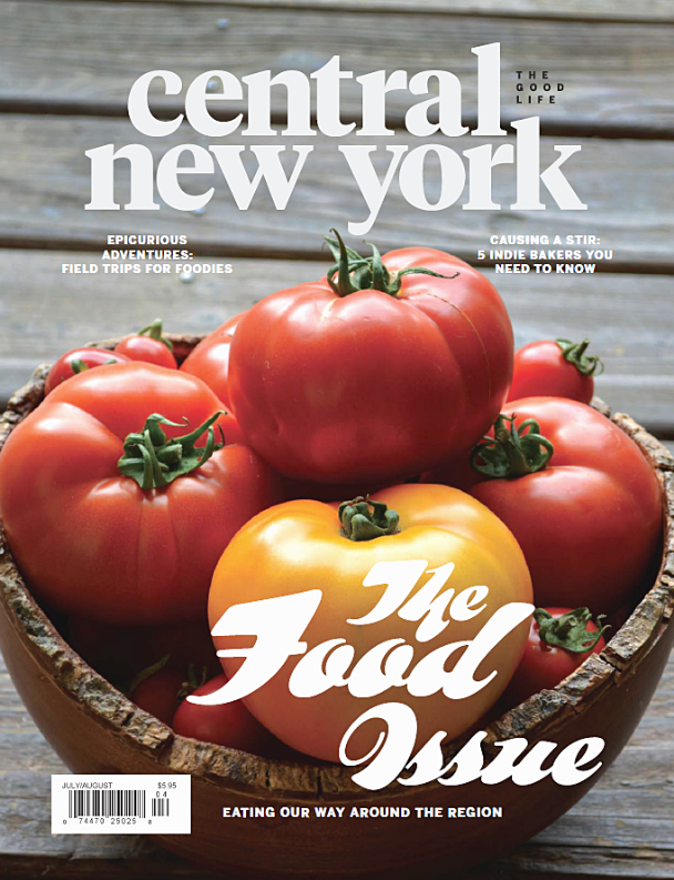 Magazine cover with Central New York Magazine logo at the top, a bowl of ripe tomatoes and the words The Food Issue at the bottom
